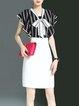 Black Elegant V Neck Ruffled Stripes Sheath Work Dress