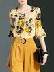 Multicolor H-line Keyhole Frill Sleeve Floral-print Blouse