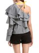 Gingham Crinkled Bell Sleeve One Shoulder Casual Ruffled Blouse