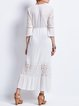 White V Neck 3/4 Sleeve Lace Pierced Guipure Swing Maxi Dress