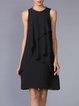 Black A-line Ruffled Sleeveless Midi Dress