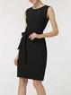 Black Solid Sleeveless Crew Neck Bow Sheath Midi Dress