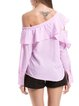 Pink Off Shoulder H-line Striped Ruffled Long Sleeve Blouse