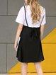 White-black Paneled Polyester Short Sleeve Bow Mini Dress