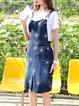 Denim Spaghetti Casual H-line Printed Pockets Midi Dress