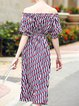 Multicolor Casual Off Shoulder Midi Dress