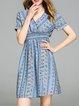 Blue Shorts Sleeve Cotton-blend Midi Dress
