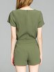 Army Green Casual Solid Rompers