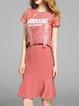Deep Pink Cotton-blend Two Piece Casual Crew Neck Midi Dress