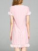 Pink Ribbed Solid Short Sleeve Midi Dress