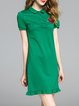 Green Shorts Sleeve Floral Embroidered Flounce Cotton-blend Mini Dress