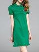 Green Short Sleeve Floral Embroidered Flounce Cotton-blend Mini Dress