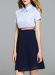 Blue Two Piece Stripes Buttoned Casual Midi Dress