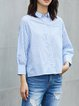 Shirt Collar Long Sleeve Stripes Blouse