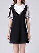 White-black Casual A-line Mini Dress