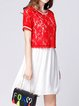 Plus Size Red Casual Guipure Lace Mini Dress