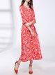 Red Half Sleeve Silk-blend Midi Dress