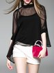 Black Stand Collar Solid Sexy Blouse