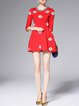 Red Floral Print Half Sleeve Cotton-blend Beaded Mini Dress