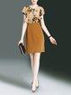 Frill Sleeve Floral Crew Neck Midi Dress