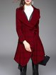 Red Lapel Long Sleeve Cotton-blend Trench Coat With Belt