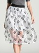 White Casual See-through Look Floral Midi Skirt