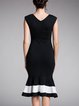 Sheath Elegant Square Neck Sleeveless Flounce Midi Dress