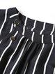 Black Crew Neck A-line Half Sleeve  Midi Dress