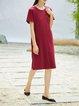 Slit Crew Neck Short Sleeve Simple Midi Dress