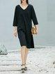 Slit Knitted Simple H-line Long Sleeve Midi Dress