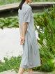 Gray Short Sleeve Crew Neck Bow H-line Midi Dress
