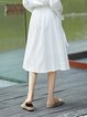 Shirred A-line Solid Cotton-blend Simple Midi Skirt