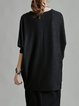 Crew Neck Solid Casual High Low Tunic
