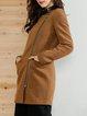 Long Sleeve Blend Asymmetric Stand Collar Casual Coat