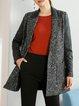 Wool blend Gray Polyester Paneled Long Sleeve Lapel Blazer