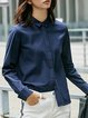 Solid Long Sleeve Shirt Collar Blouse