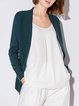 Solid Knitted Simple Nylon Long Sleeve Cardigan
