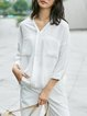 Solid V Neck 3/4 Sleeve Simple Blouse