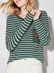 Pockets Simple Cotton-blend Stripes Long Sleeve Top