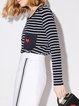 Cotton-blend Simple Stripes Long Sleeve Pockets Top