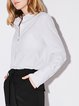 Simple Long Sleeve Cotton Shirt Collar Stripes Blouse