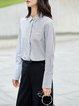 Simple Long Sleeve Cotton Shirt Collar Stripes Blouse