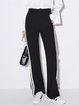 Paneled Polyester Stripes Simple Wide Leg Pant
