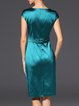 Solid  Shorts Sleeve Elegant Midi Dress