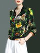 Floral-print Casual 3/4 Sleeve Silk Stand Collar Bomber Jacket