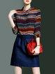 Silk Jacquard 3/4 Sleeve Shirt Collar Casual Mini Dress