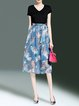 Floral-print Paneled Blue V Neck Bow Casual Midi Dress