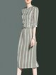 Multicolor Polyester Casual Stand Collar Stripes Midi Dress
