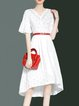 Cotton Girly V Neck Crocheted Bell Sleeve Midi Dress