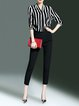 Black 3/4 Sleeve Polyester Printed Stripes Top With Pants